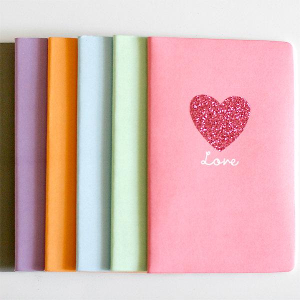 Dollar Notebooks + Glitter = LOVE by Julie Comstock
