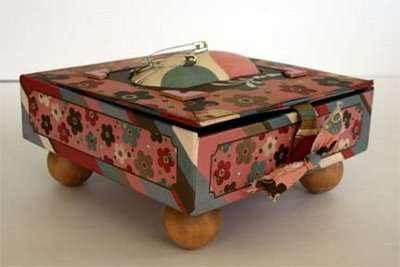 Side view of sewing box