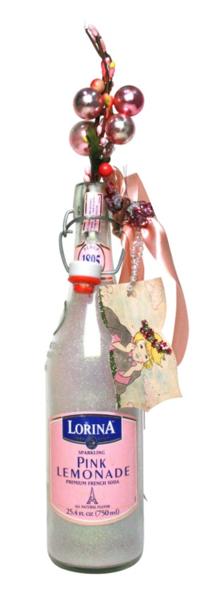 Pink Lemonade Bottle featuring Chantilly Lace Vintage & Sparkle Glitter