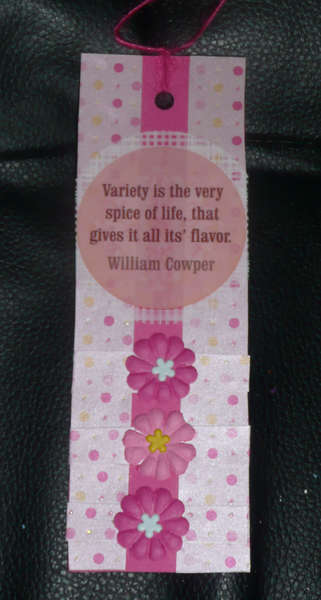 Variety is the very spice of life bookmark