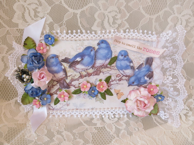 Shabby Chic ***Stop To Smell The Roses Birds Tag