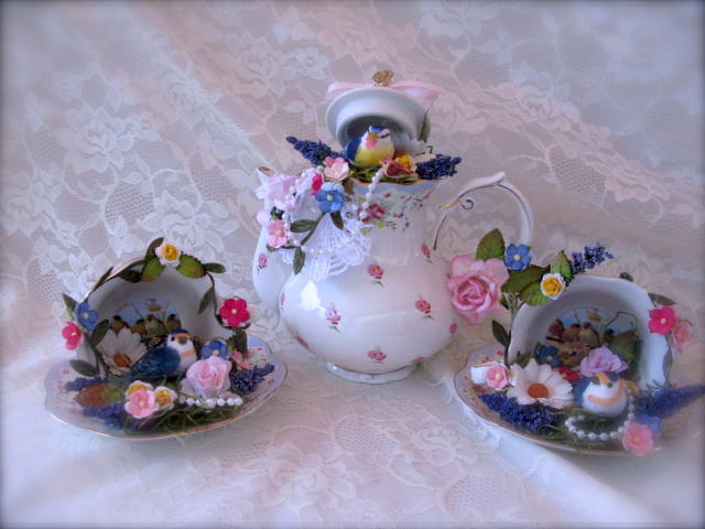 Tea 4 Two Altered Teapot And Teacups In Blue