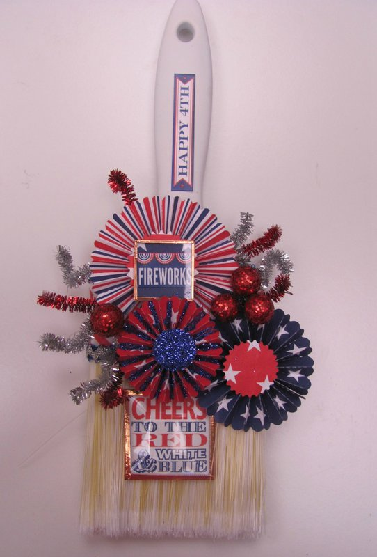 4th of July altered paint brush