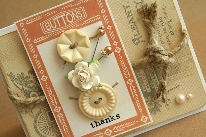 Button Thanks card