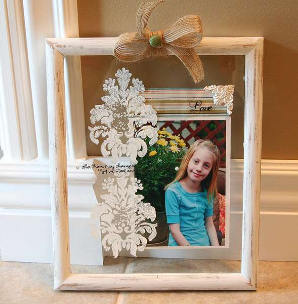 Clear Glass Frame with stamping *Melissa Frances*