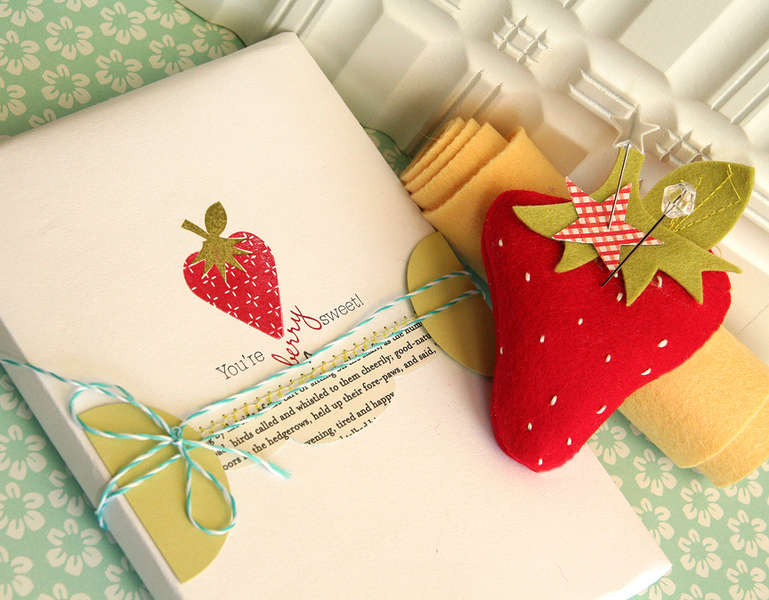 Berry Sweet gift wrap and pincushion