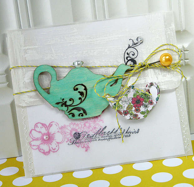 Teapot card *NEW Pink Paislee*
