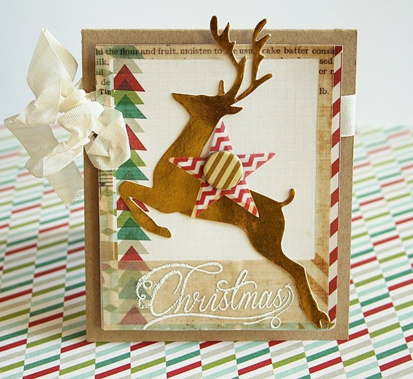 Reindeer Holiday card *Pink Paislee*