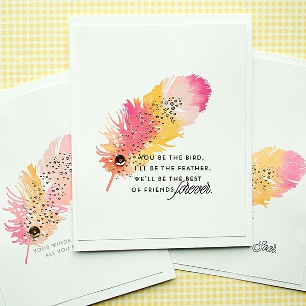 Watercolor Feather cards