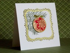 Red ornament Christmas card