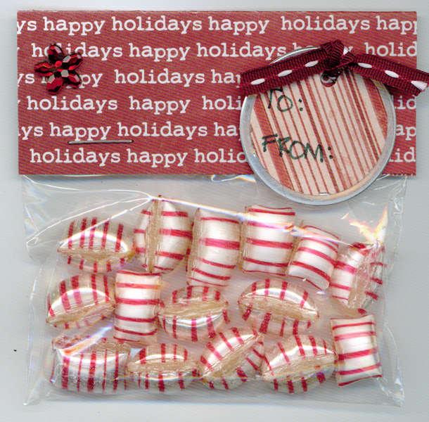 Red Holiday Mint Gift Bag Christmas Tag