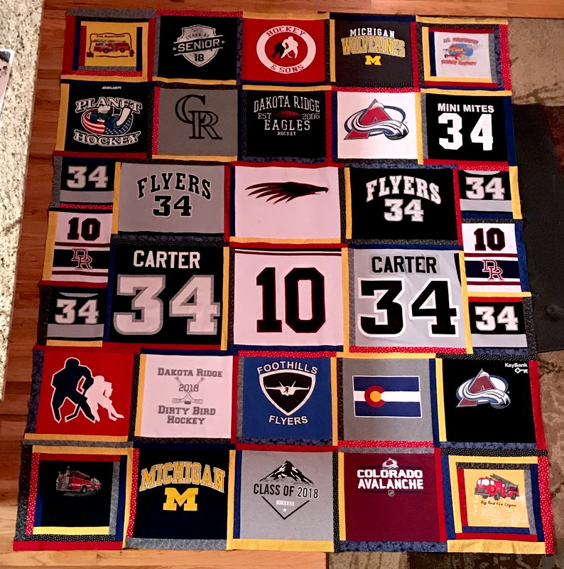Hockey Jersey T-shirt Quilt Top
