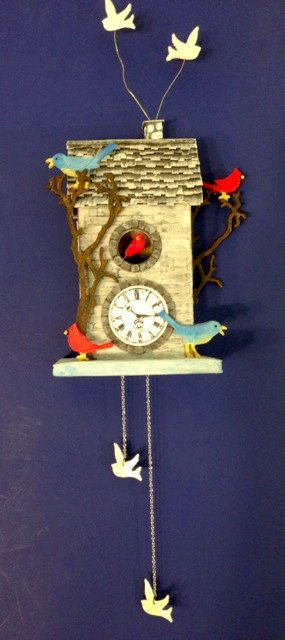 Red, White and Bluebird Clock House