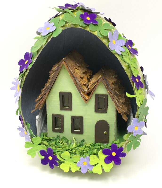 Miniature Irish Cottage decorated for St. Patrick's Day