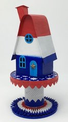 Patriotic Putz house - paper house for Fourth of July