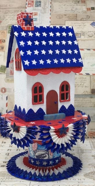 Starry Roof Patriotic Paper House