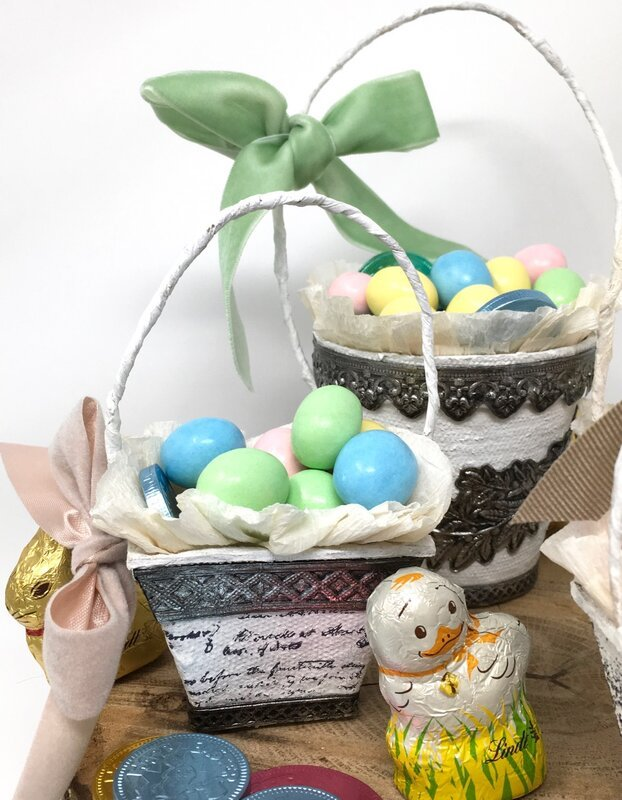 Easter Holiday Peat Pot Baskets with Sizzix Impresslits trim
