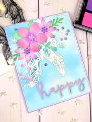 Spellbinders Card: Floating Feathers and Chilled Pastel Palette