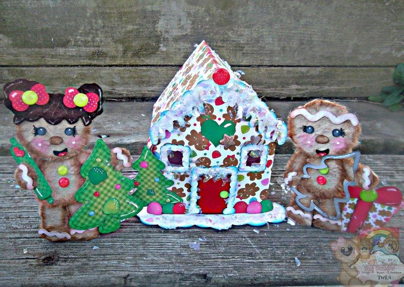 3D Gingerbread House with Tear Bears