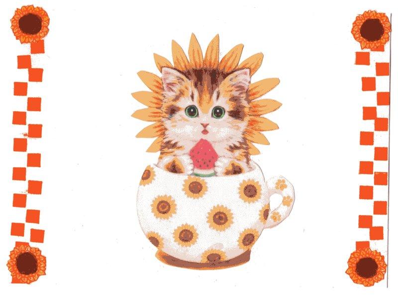 Fall Sunflower/Cat