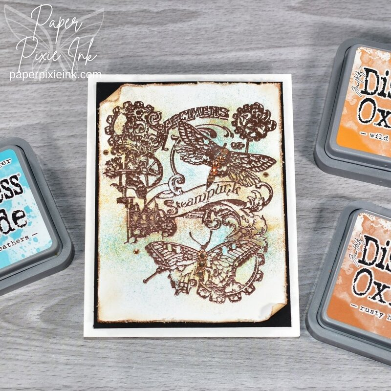 Distress Oxide Inks & Copper Heat Embossing: Collage Steampunk Card