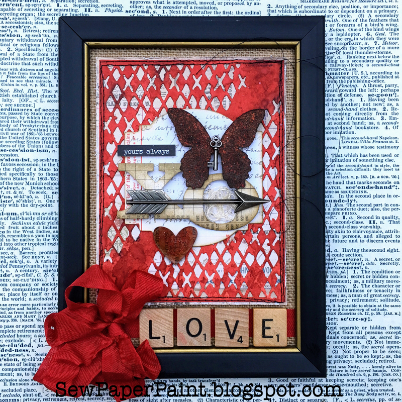Tim Holtz Mixed Media Framed Valentine Canvas