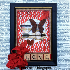 Tim Holtz Mixed Media Framed Valentine Canvas