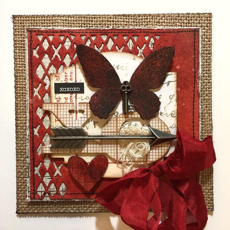 Tim Holtz Butterfly Valentine Burlap 4x4s