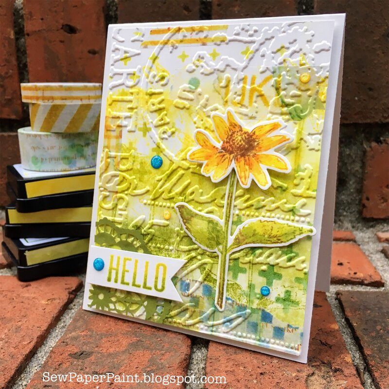 Wendy Vecchi Ranger Ink Washi and Embossing Floral Card