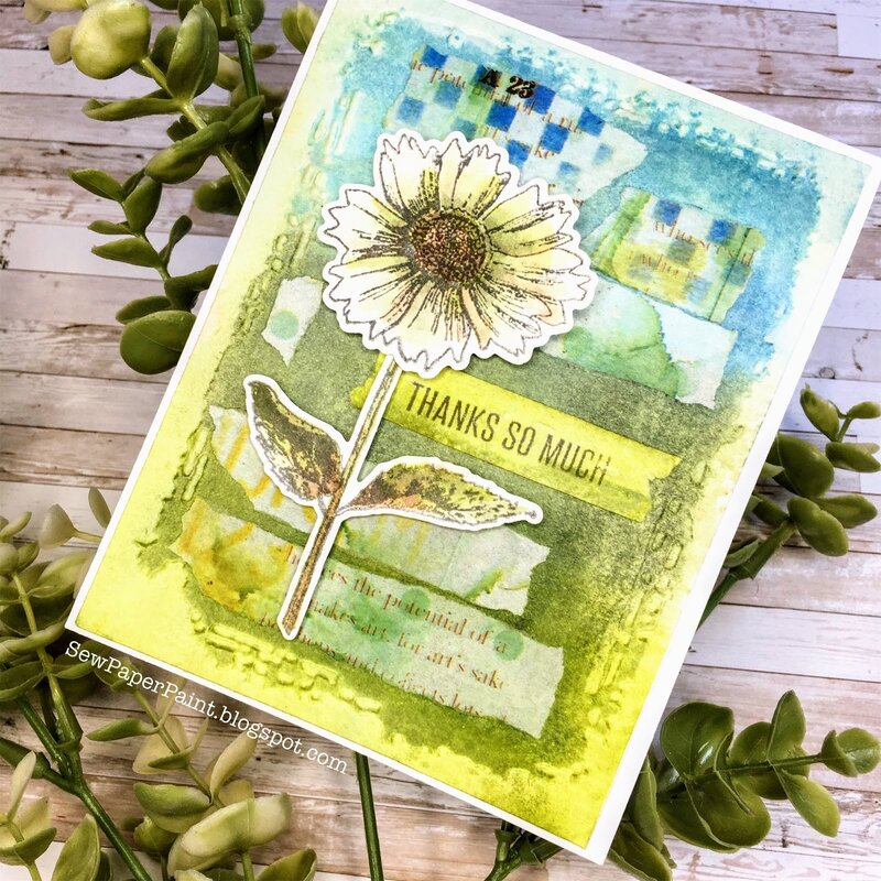 Wendy Vecchi Ranger Ink Mixed Media Flower Card