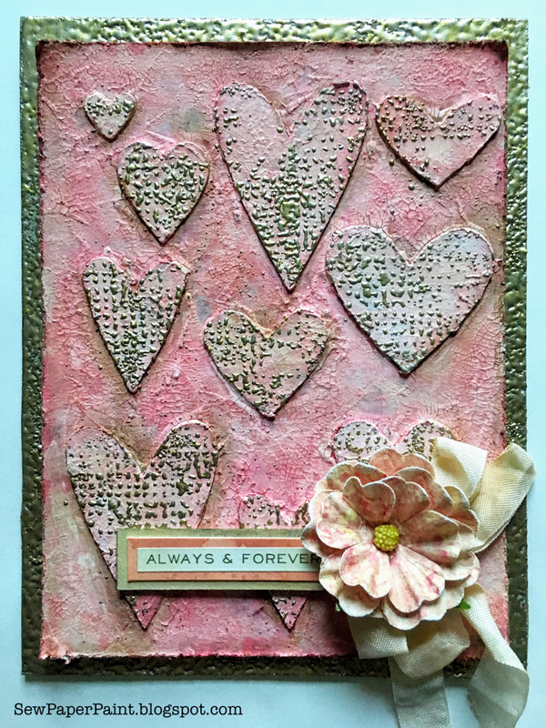 Crackle Paste Hearts Mixed Media Valentine