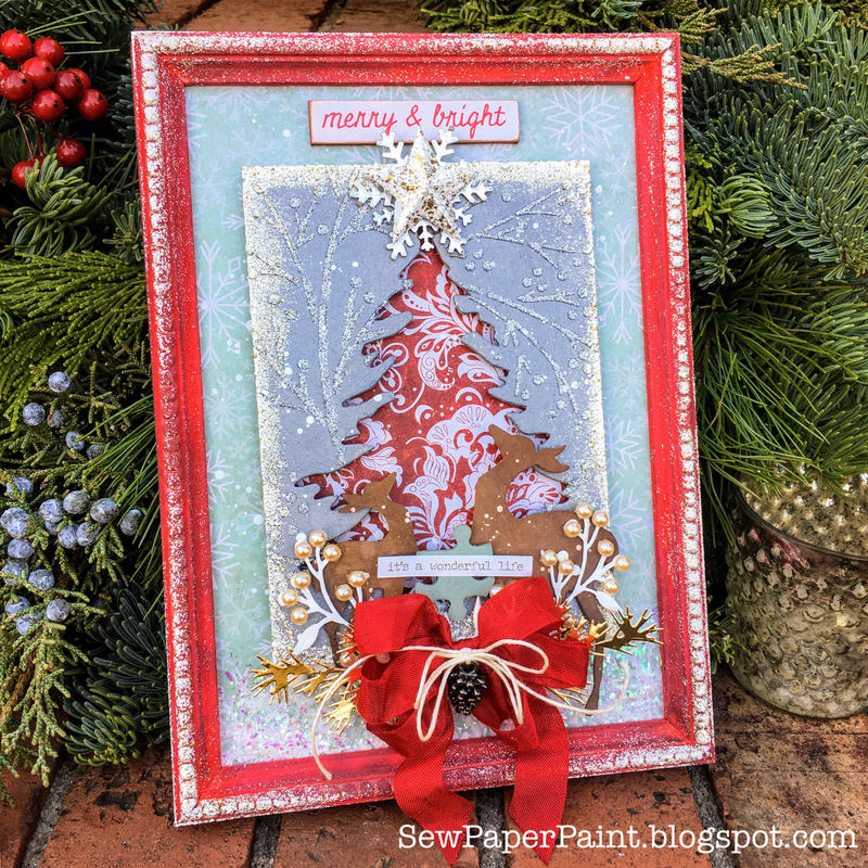Framed Tim Holtz Christmas Tree and Deer