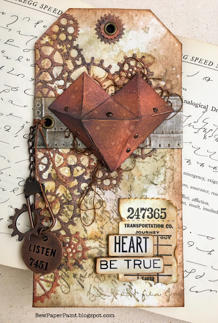 Rusty Tim Holtz Steampunk Geometric Heart Be True Tag