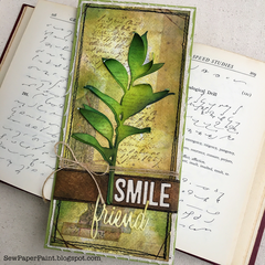 Tim Holtz Large Stems Green Leaves Card
