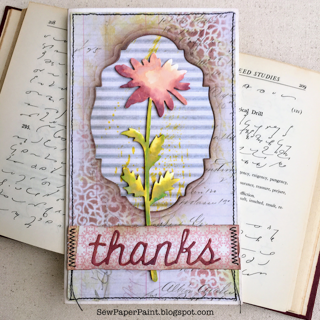 Tim Holtz Large Stems Pink Thanks Card