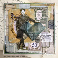 Tim Holtz Faceted Heart Paper Doll Collage Card