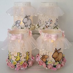 Upcycled Baby Food Jar Votive Holders for Easter Table