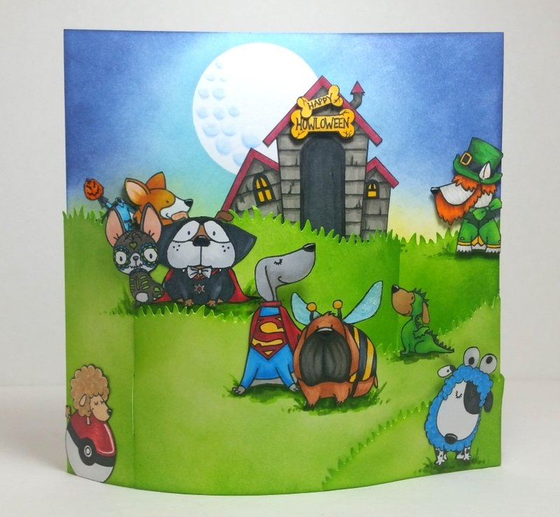 Dogs in Halloween Costumes Bendy Card