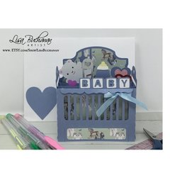Card - Popup - Crib in Blue