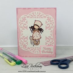 Card - Happy Birthday - Gorjuss Girl with Kitty