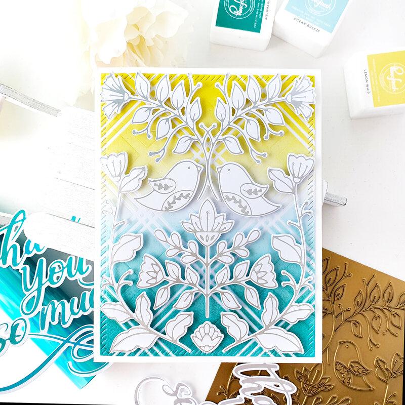 Folk Art Bird card with hot foiling