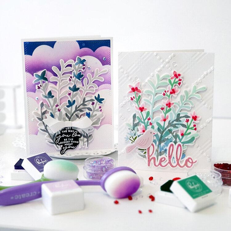 Hello Card using Pinkfresh Studio Layering Stencils