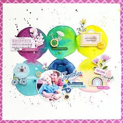Layout with watercolor background using Pinkfresh Studio Noteworthy