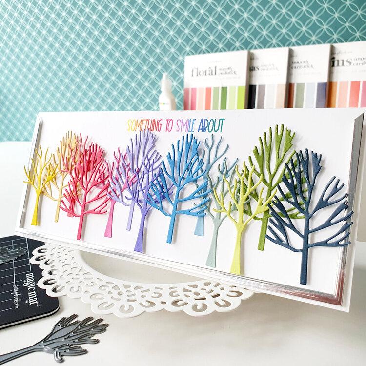 Rainbow trees slimline card