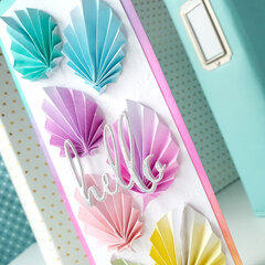 Rainbow leaves slimline card