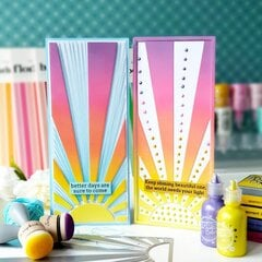 Sunshine cards with stitching and Pops of Color