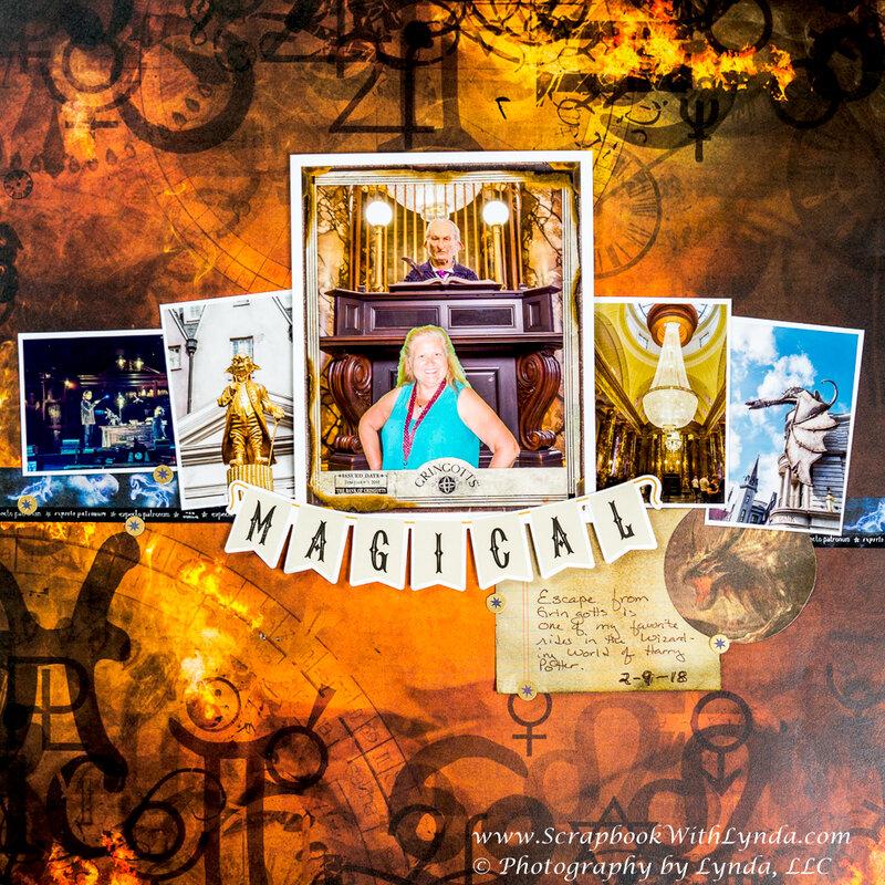 Gringotts Bank Scrapbook Layout, Wizarding World of Harry Potter, Universal Orlando