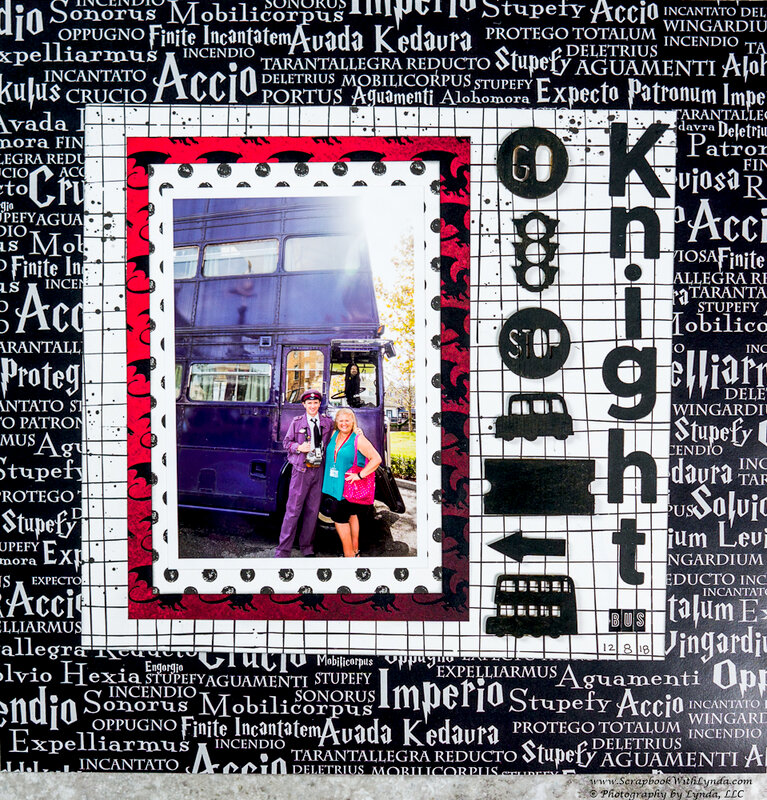 Harry Potter Knight Bus Scrapbook Layout with Altered Embellishments