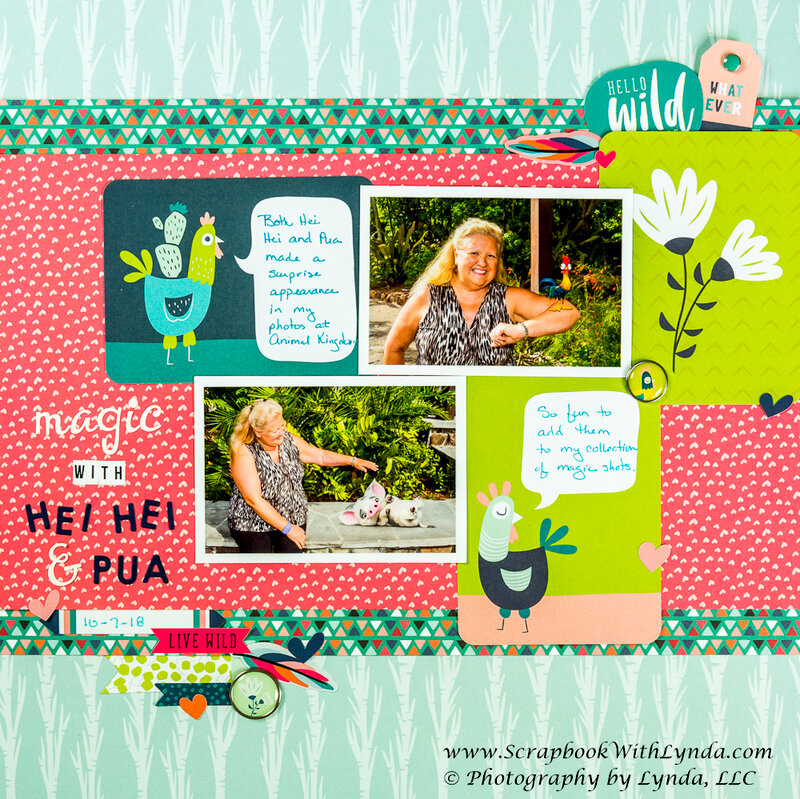 Hei Hei and Pua Scrapbook Layout with Pocket Cards