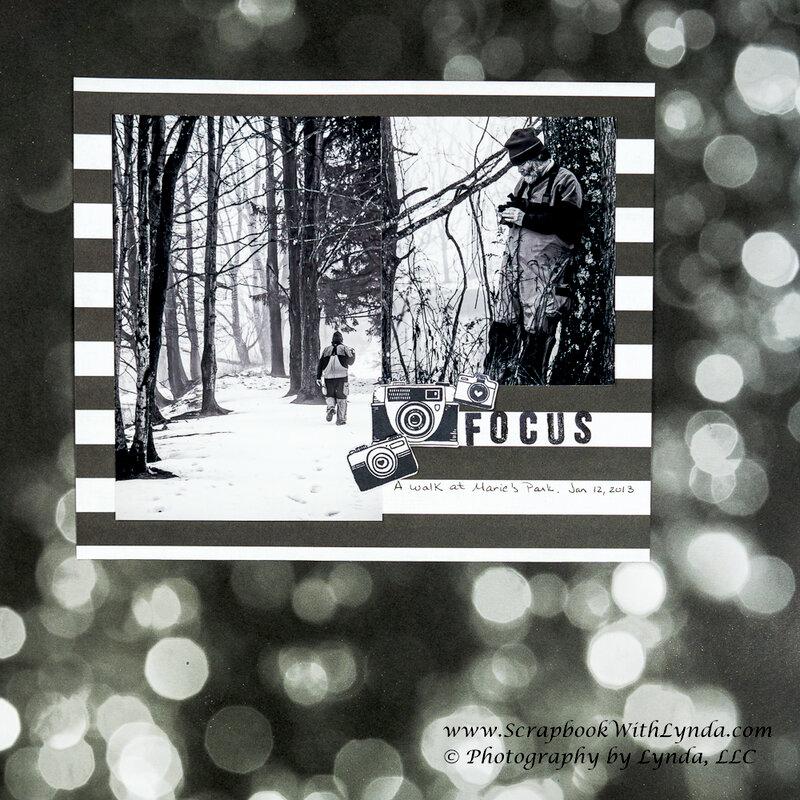 Monochromatic Black and White Scrapbook Layout